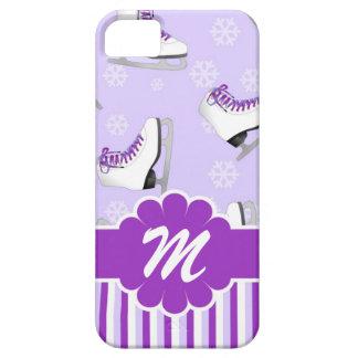 Monograma de encargo púrpura y blanco del patinaje funda para iPhone SE/5/5s