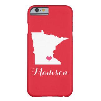Monograma de encargo rojo del corazón de Minnesota Funda Para iPhone 6 Barely There