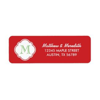Monograma de encargo rojo y verde etiquetas de remite