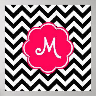 Monograma de encargo rosado de neón con el modelo poster