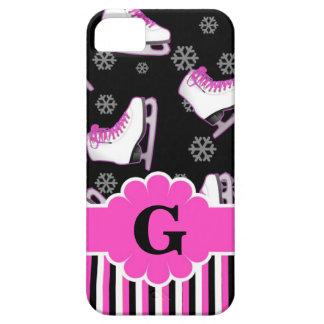 Monograma de encargo rosado y negro del patinaje iPhone 5 funda