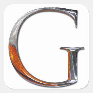Monograma de G del metal Pegatina Cuadrada