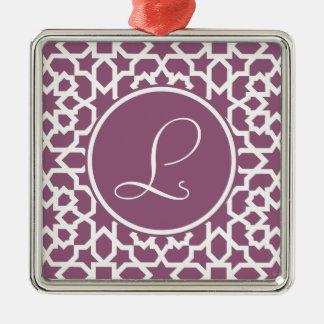 Monograma de geometría en elegante violeta adorno navideño cuadrado de metal