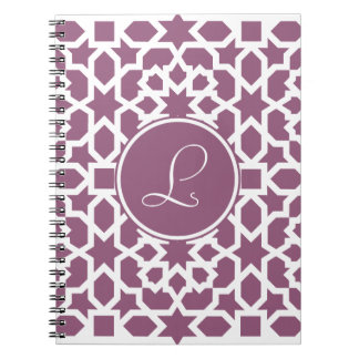 Monograma de geometría en elegante violeta libretas espirales