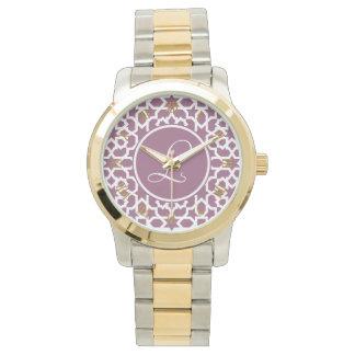 Monograma de geometría en elegante violeta reloj de mano