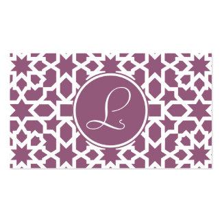 Monograma de geometría en elegante violeta tarjetas de visita