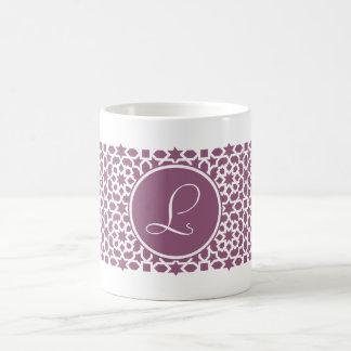 Monograma de geometría en elegante violeta taza básica blanca