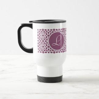 Monograma de geometría en elegante violeta taza de viaje de acero inoxidable