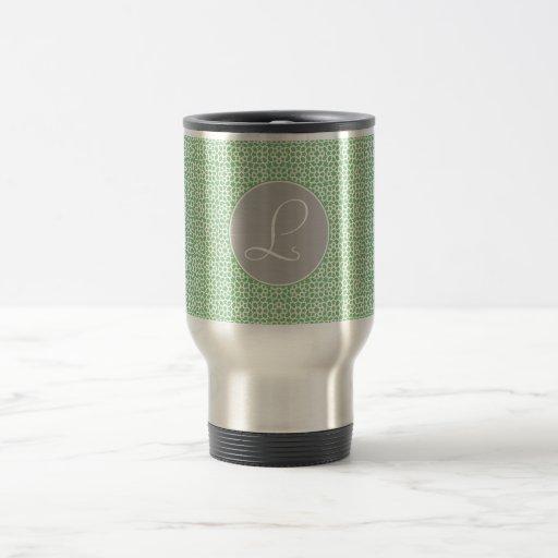 Monograma de geometría marroquí verde y gris taza