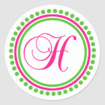 Monograma de H (rosa fuerte/círculo verde del Pegatinas Redondas
