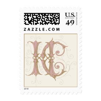 Monograma de HC o del CH en rosa y oro Sellos