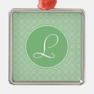 Monograma de inicial elegante arte árabe verde adorno navideño cuadrado de metal