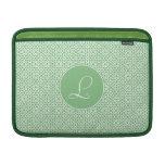 Monograma de inicial elegante arte árabe verde funda macbook air