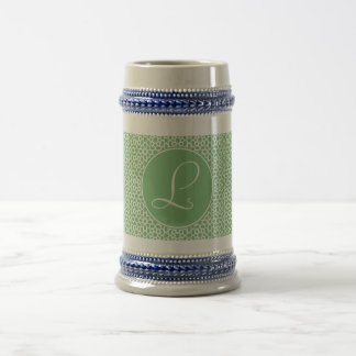 Monograma de inicial elegante arte árabe verde jarra de cerveza