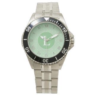 Monograma de inicial elegante arte árabe verde reloj de mano