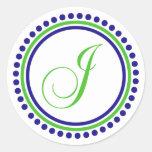 Monograma de J (círculo del punto del azul marino/ Pegatinas Redondas