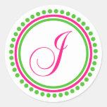 Monograma de J (rosa fuerte/círculo verde del Pegatina Redonda