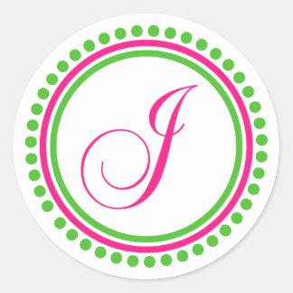 Monograma de J rosa fuerte círculo verde del punt Pegatina Redonda