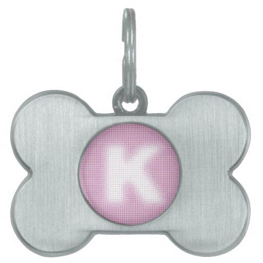 Monograma de K Placa De Nombre De Mascota