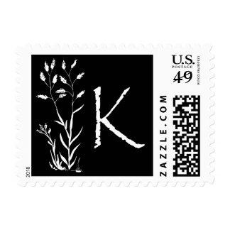 Monograma de K (planta negra de la lavanda) Envio