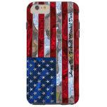 Monograma de la bandera americana más funda de iPhone 6 plus tough