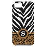 Monograma de la cebra y del estampado leopardo iPhone 5 Case-Mate cárcasa