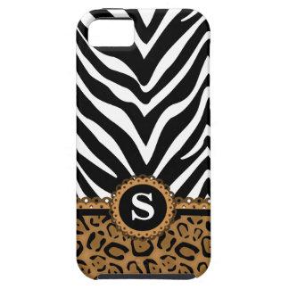 Monograma de la cebra y del estampado leopardo iPhone 5 carcasas