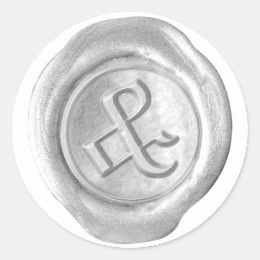 Monograma de la cera - plata - ingleses viejos y - pegatina redonda