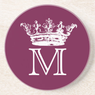 Monograma de la corona del vintage posavasos manualidades