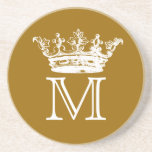 Monograma de la corona del vintage posavasos diseño