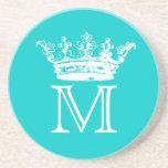 Monograma de la corona del vintage posavasos personalizados
