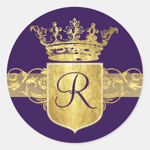 Monograma de la corona, tonos del oro pegatina redonda