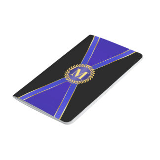 Monograma de la elegancia del azul real cuadernos grapados