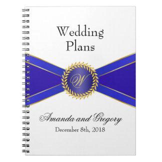 Monograma de la elegancia del azul real notebook