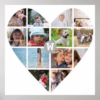 Monograma de la familia del collage del corazón de póster