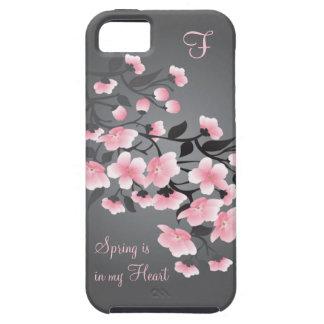 Monograma de la flor de cerezo Sakura iPhone 5 Protector