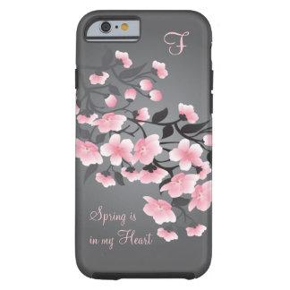 Monograma de la flor de cerezo (Sakura) Funda De iPhone 6 Tough