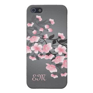 Monograma de la flor de cerezo Sakura iPhone 5 Protectores