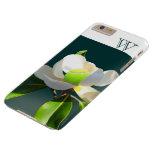 Monograma de la flor de la magnolia del tenis funda para iPhone 6 plus barely there