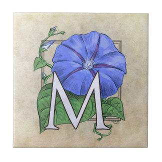 Monograma de la flor de las correhuelas azulejos