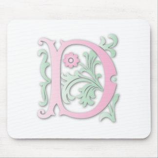 Monograma de la flor de lis D Tapetes De Ratones