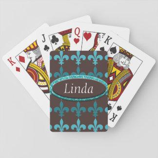 Monograma de la flor de lis del invierno del barajas de cartas