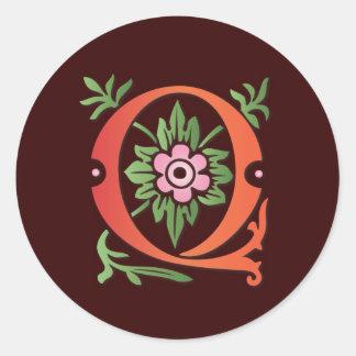 Monograma de la flor de lis Q Pegatina Redonda