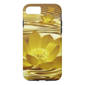 Monograma de la flor de loto del oro funda iPhone 7
