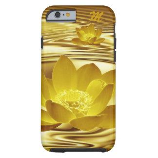 Monograma de la flor de loto del oro funda resistente iPhone 6