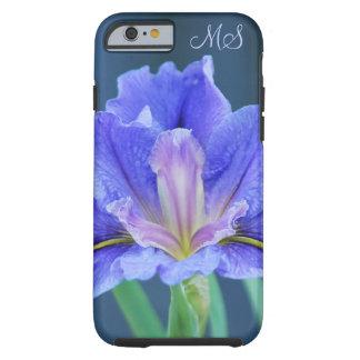 Monograma de la flor del iris funda de iPhone 6 tough