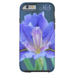 Monograma de la flor del iris funda para iPhone 6 tough