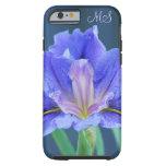 Monograma de la flor del iris funda resistente iPhone 6