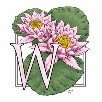Monograma de la flor del lirio de agua fotoescultura vertical