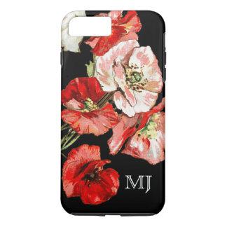 Monograma de la flor salvaje de la amapola funda iPhone 7 plus
